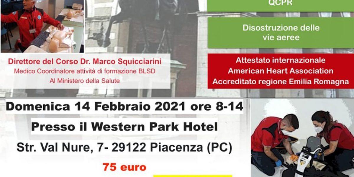 Corso BLSD con ECM a Piacenza il 14 febbraio 2021 American Heart Association